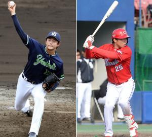 ヤクルト田川賢吾(左)と広島高橋大樹