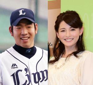 西武の菊池雄星(左)と深津瑠美キャスター
