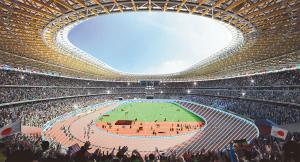 木と鉄を組み合わせた屋根構造が象徴的な新国立競技場の内部イメージ図(JSCホームページより 斜線部分は加工)